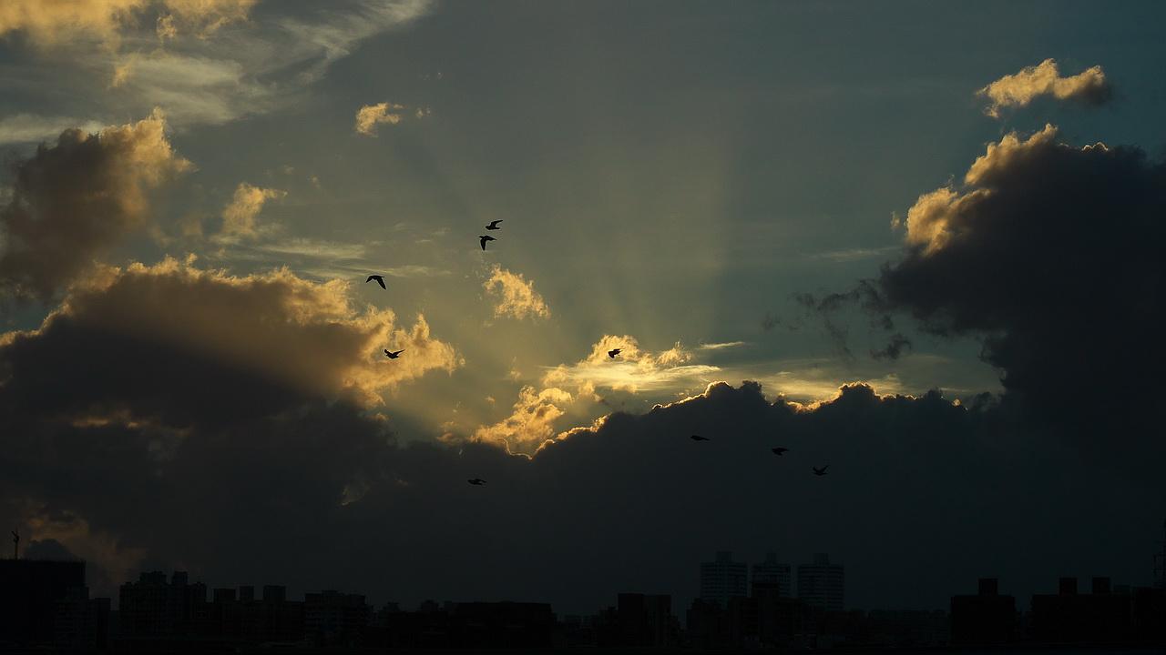 天鵝颱風來襲前日出雲彩