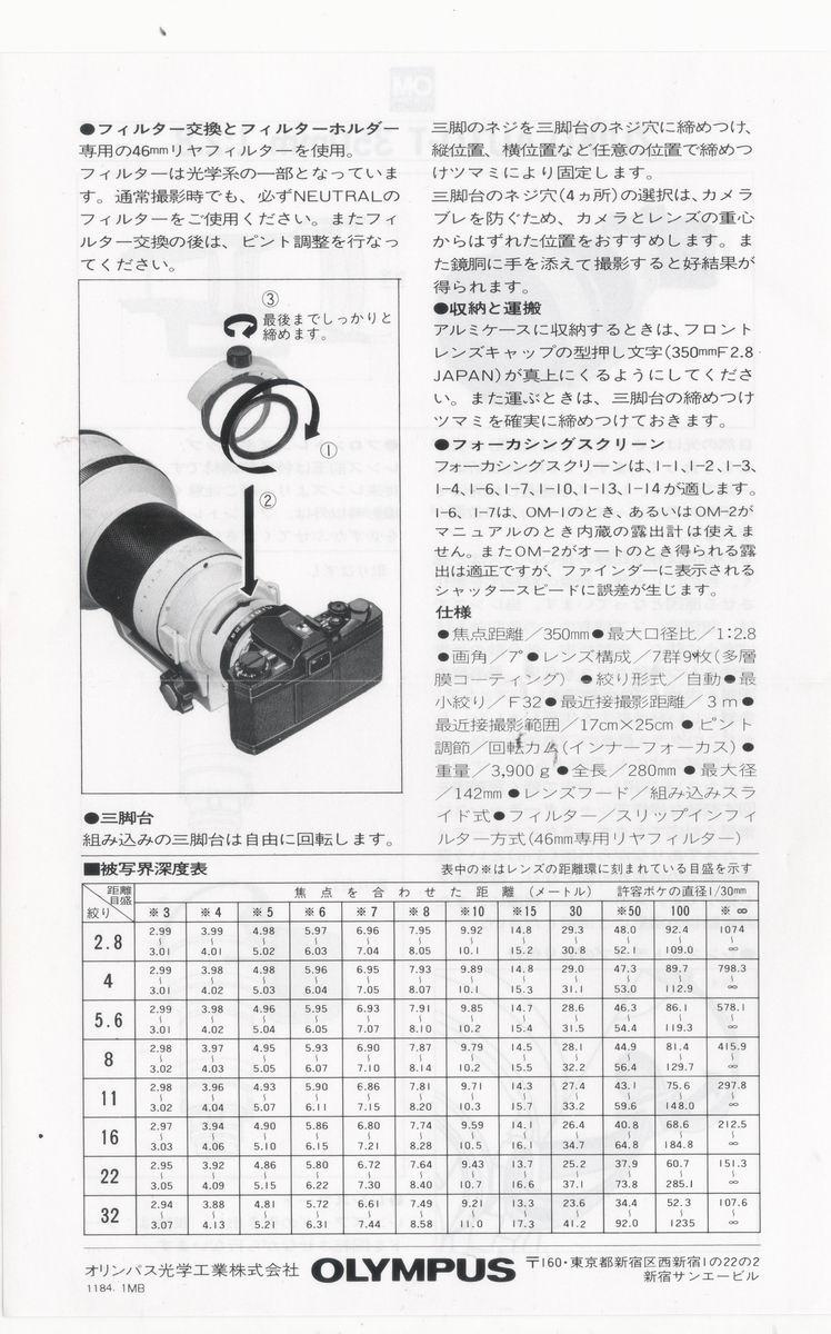 ZUIKO AUTO-T 350MM F2.8 使用說明書--背面